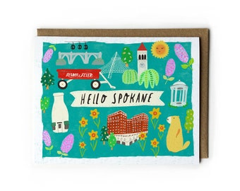 A2 Greeting Card, Spokane City Art, Washington State Art, Pacific Northwest, College Student Gift, Spokane Historic Sites, Blank Notecard