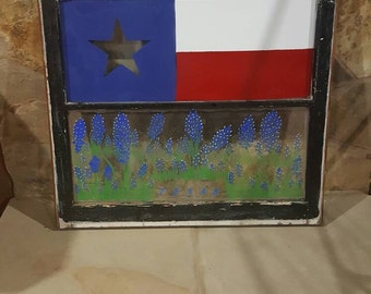 Vintage framed window with hand painted TX flag,  Bluebonnets and Texas