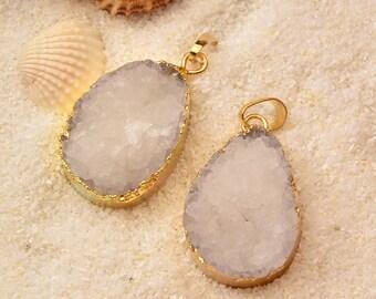 2PC Quartz Druzy  Drusy Crystal  Pendant  , Druzy Gold  Dipped  Electroplated , Raw  Quartz  Gemstone Pendant