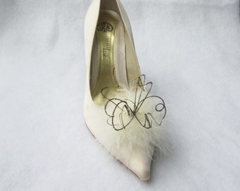Ivory Feathered Shoe Clips  More Colors Available