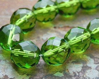 8mm Czech Beads Faceted  in Olivine Green -25