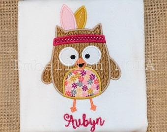 Fall Girl Owl with Headdress Applique Fall Monogram Shirt or Bodysuit