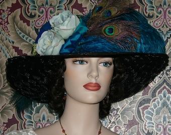 Edwardian Hat, Downton Abbey Hat, Titanic Hat, Ascot Hat, Tea Party Hat, Kentucky Derby Hat, Kingfisher Blue & Teal Green Hat - Lady Jenn