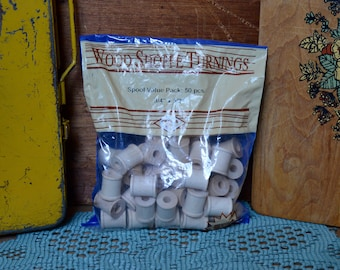 Vintage Bag of New Never Used or Opened Craft Wooden Spools Wood Crafting Decor Sewing Table Card Setting Wedding Display