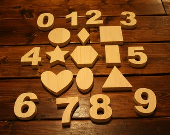Shapes and Numbers Set - 19 pieces FREE SHIPPING