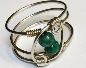 Emerald Ring  Green Emerald Ring  Emerald Jewelry   Sterling Silver Rings for Women  May Birthstone Ring