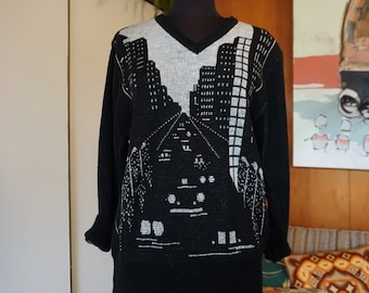 1980' Vintage City Streets Black and Silver Sweater by Chaus Novelty Print Size S
