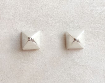 Silver Stud Earrings - Sterling Silver - Small - Minimalist Earrings - Small Silver Studs - Pyramid Studs - Gifts Under 25 - Stud Earrings