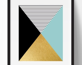 Geometric print, abstract art print, black and gold print, gold print, minimalist print, mint wall decor, instant download, 11x14 print