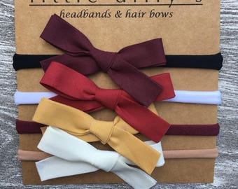 Set of four hair bows  || newborn baby girl headband || burgundy, red, mustard yellow, ivory ||
