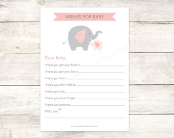 wishes for baby shower printable DIY elephants pink baby girl grey cute baby digital shower games - INSTANT DOWNLOAD