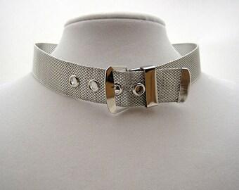 Vintage Mesh Belt Buckle Choker Necklace, Silvertone