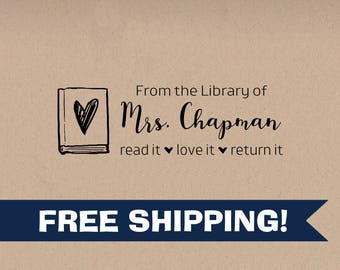 Custom Librarian Stamp, From the Library of Script Classroom Library Stamp, Self-Inking Classroom Stamps, School & Teacher Stamps