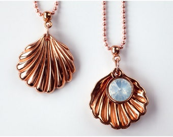 Charm necklace with pendant/shell with white pearl of Swarowski elements/gold, Silver & Rosegold/70cm
