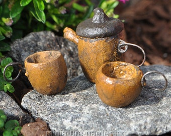 Tiny Acorn Tea Service, Set of 3 for Miniature Garden, Fairy Garden