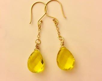 Lemon quartz and gold vermeil dangle earrings