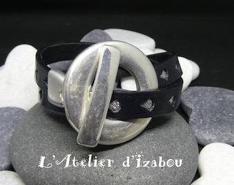 Bracelet original double tour de poignet cuir noir gravé de gouttes d'eau argentées fermoir toggle géant en métal argenté