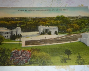 Open Air Theater, Brackenridge Park, San Antonio, Texas View Linen Postcard Unused