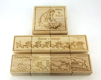 Christmas Jumbo Wooden Puzzle Blocks - 12 pc. Set