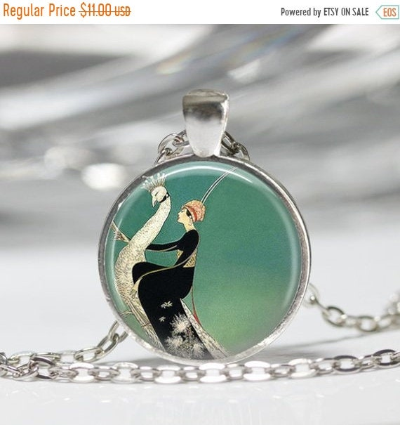 ON SALE Art Deco Jewelry Woman Riding White Peacock Emerald Green Necklace Art Pendant in Bronze or Silver with Link Chain Included