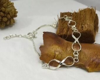 925 Sterling Silver Infinity Eternity Symbol Charm Bracelet