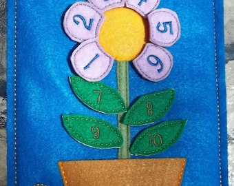 Flower Pot Count the Petals & Leaves Learning set Flower in Pocket Pot w  6 petals labeled 1 thru 6 and 4 leaves labeled 7 thru 10 rear pkt