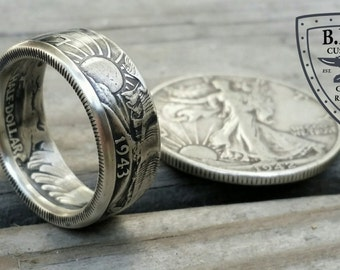 Walking Liberty Half Dollar Coin Ring 90% Silver