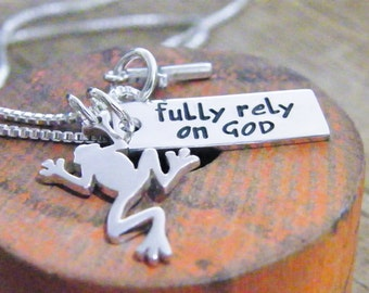FROG necklace fully rely on God sterling silver necklace