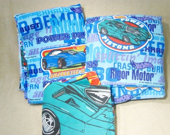 Vintage Hot Wheels Twin Bed Sheet Set, Flat, Fitted and Pillowcase, Kids Bedding