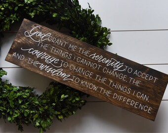 Hand painted SERENITY PRAYER rustic wood sign, Christian home decor, God grant me the serenity, friend gift