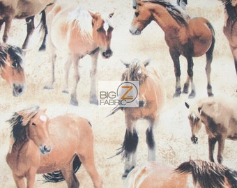100% Cotton Fabric By Wilmington Prints - Greener Pastures Horses - By The Yard (FH-3701) Clothing Decor Accessories