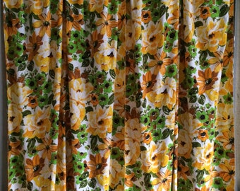 Vintage Floral Pinch Pleat Drapes Curtains 48 x 83 one pair FREE SHIPPING