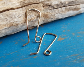 14k Gold Filled Earwires, Yellow or Rose, Rectangle Squovettes, Handmade Earring Findings