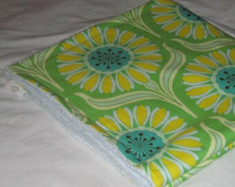 Green Pop Garden Daisy and Chenille Receiving Stroller Blanket - SALE