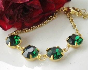 Emerald Rhinestone Bracelet Vintage 14K Gold Plated Chain