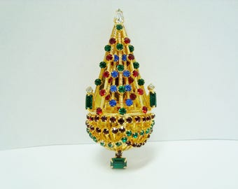 Vintage Joseph Warner Chandelier Tree Christmas Brooch Pin