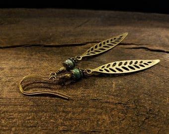 Bronze Earrings, 3 1/4 inches, Leaf Earrings, Boho Earrings