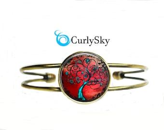 Tree of Life Bracelet Crimson and Blue Bracelet Tree of Life Bangle Bracelet Blue Tree Bracelet Tree of Life Jewelry Crimson bangle jewelry
