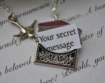 Envelope Necklace Secret Message Personalized with Pearls and a Bird in Silver