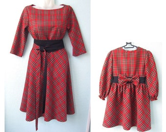 Family Look Dress Red plaid dress Tartan Mother and Daughter Dress