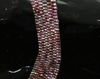 Cherry Cola Peyote Bead Woven Bracelet