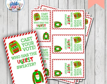 Ugly Sweater Voting Card, Ugly Christmas Sweater Party, Holiday Party