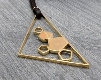 Leather necklace, Gold Triangle Pendant, Geometric, Uneven in Shap,Long,Minimalist,Modern, Urban, 24k Plating