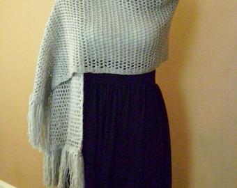 Crocheted Silver Shimmer Shawl / Wrap