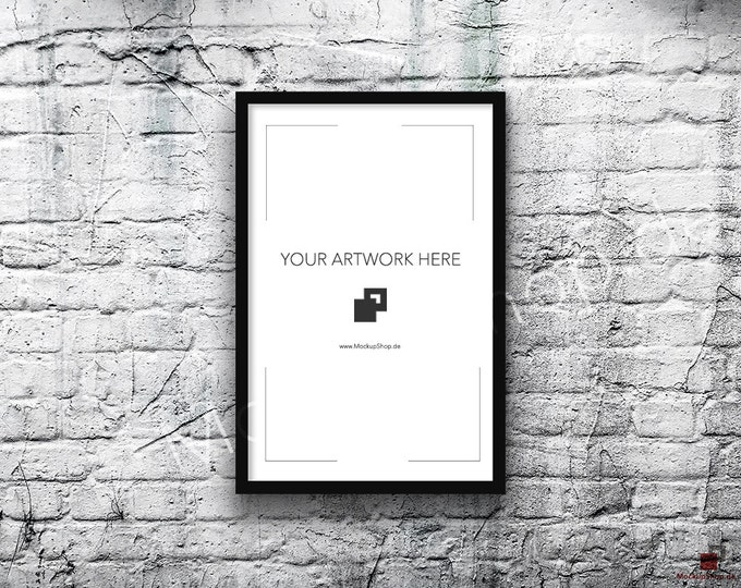 11x17 Vertical Digital BLACK FRAME MOCKUP, Styled Photography Poster Mockup, old White Brick Background, Framed Art, 40% Discount in April