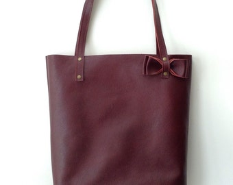 Custom Burgundy Red leather tote bag // Reserved for Kasey