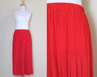 Bright Red Pleated Skirt /  Vintage Red Skirt