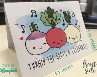 Turnip The Beets & Celebrate! - Size A2 Greeting Card