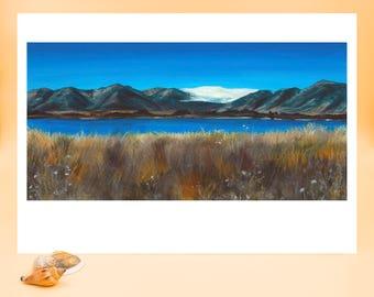 Lake, Acrylic, Painting, Art Print, Fine Art Print, Landscape, Art, Clouds, Water, Blue, Mountains, Grass, Sky, Print, Nature, Scenery, Gold