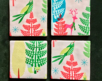 Holiday Coasters - Set of Four Contemporary Drink Coasters - Great Christmas Gift or Stocking Stuffer